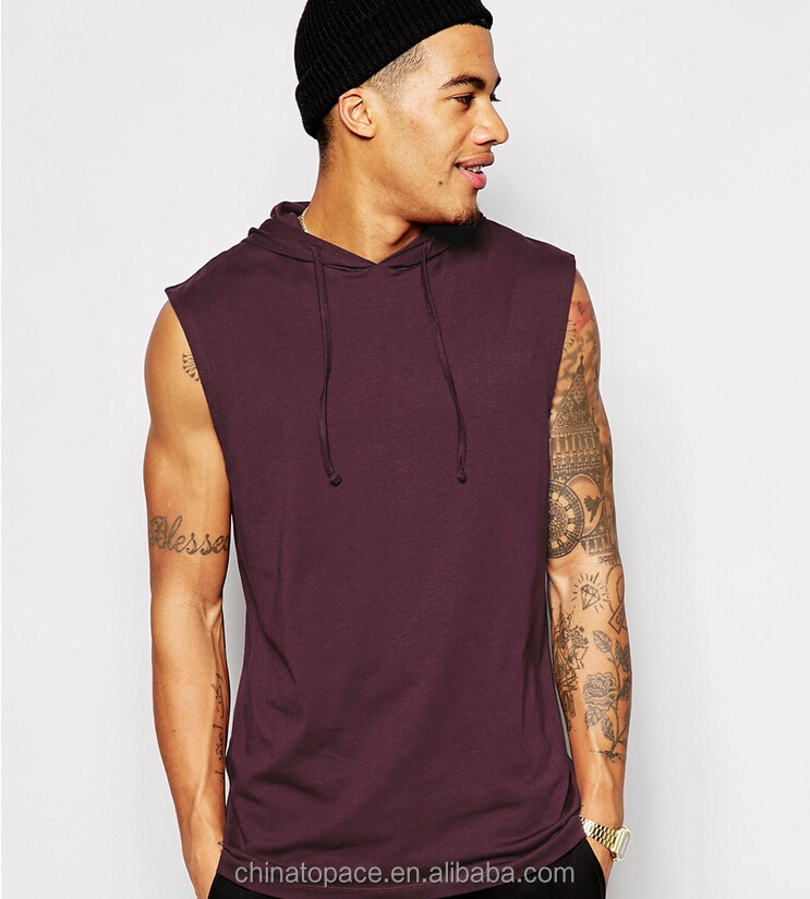 100% cotton fashion high quality mens sleeveless pullover tank tops with hood