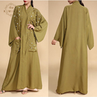New Design Chiffon Khaki Bead Long Sleeve Abaya
