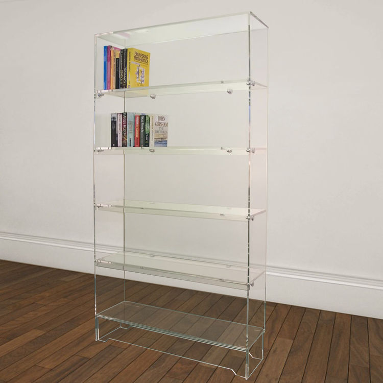 Clear Acrylic Tiered Bookshelf Lego Display Case Doll Mini Figtures Stand Holder