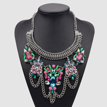 Fashion Acrylic Necklace Shourouk inspire Necklace Colorful Crystal Necklace
