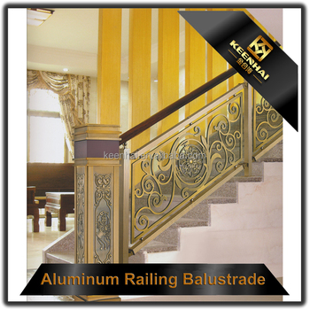 Interior Prefab Art Handrail Aluminum Indoor Stair Railings For Hotel