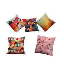 Decorative Abstract Colorful Geometry Cotton Linen Square Throw Pillow Covers 18 x18 Inch