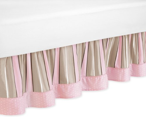 Sweet Jojo Designs Pink and Brown Modern Polka Dots Queen Kids Bed Skirt