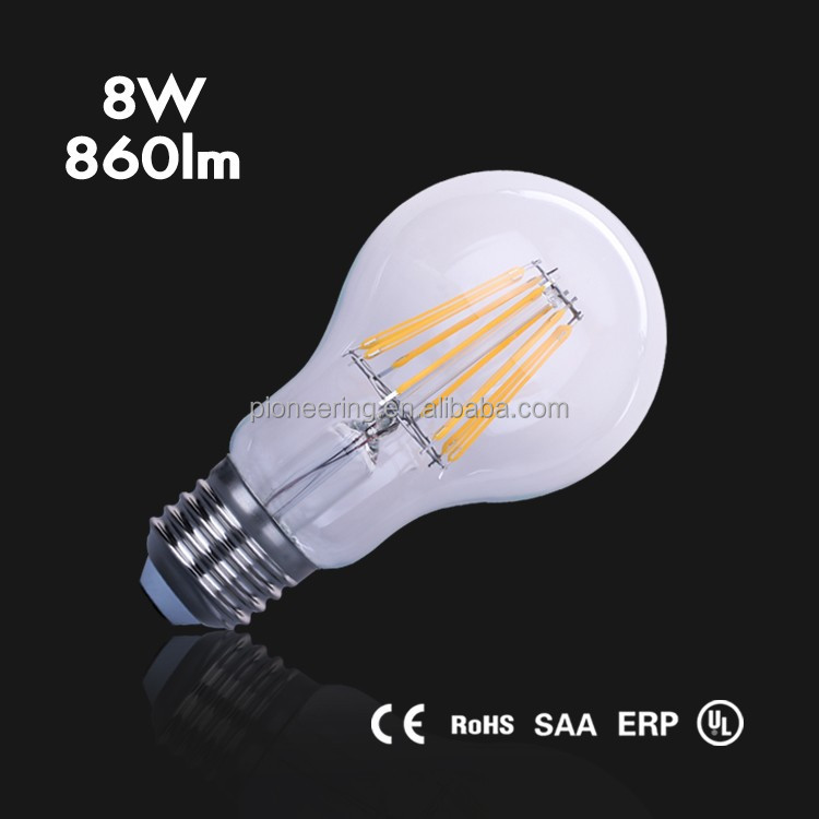 New Products A60 Led Bulb CE ROHS UL SAA E26 B22 Led Bulb <strong>E27</strong>, Dimmable Available Led Filament Bulb