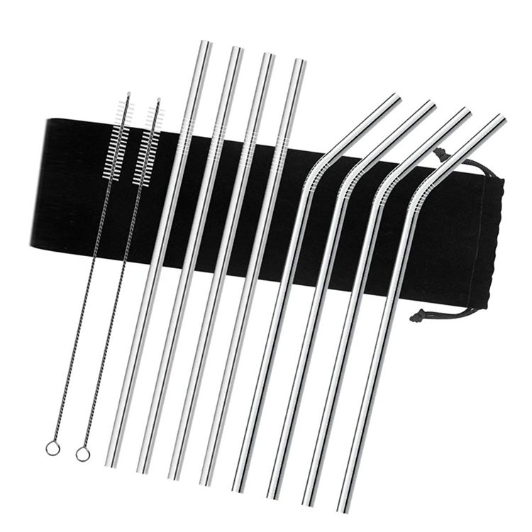 4pc Stainless Steel Metal Silver Drinking Straw Kit Extra Wide /& Brush /& Pouch
