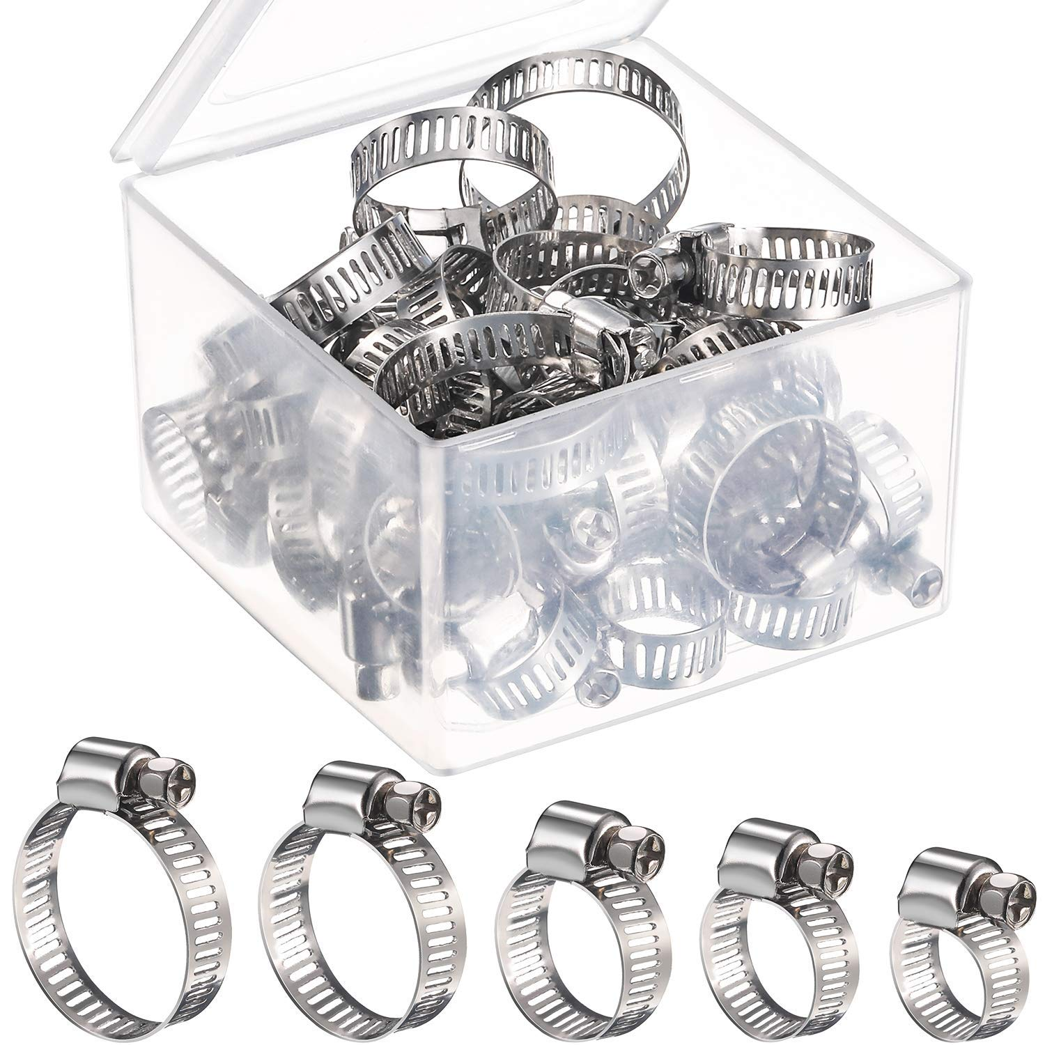 35-51 10pcs Hose Clamps Stainless Steel Adjustable Screw Band Fuel Line Worm Gear Clips Hydraulic Equipment