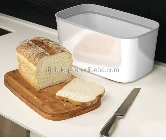 Double bread box Bamboo bread box with Bamboo Cutting Board Lid wooden bread box