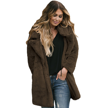 Trade Assurance Ladies Fashion Casual Women Clothing Winter Outerwear Coats Pocketed Faux Fur Longline Coat