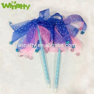 Wholesale Christmas Plush Pen Ball Point Kids' Birthday Party Gifts with Polka Dot Party Ribbon Pen