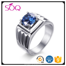 2017 Hot sale new product fashion 12mm high polished blue zircon 316l stainless steel jewellery