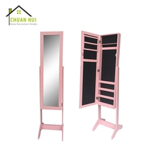 Pink Rosewood Mirror Contemporary Jewelry Armoire
