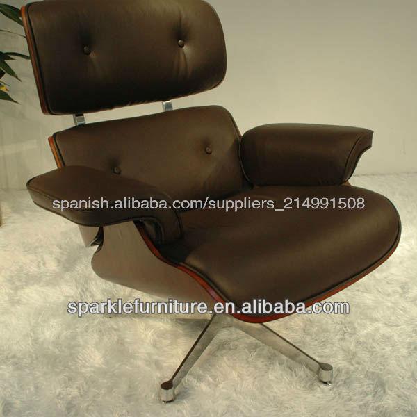 Charles Eames Lounge Chair y otomano en cuero negro muebles para el ...