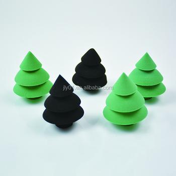 New Design Xmas Christmas Tree Makeup Sponge /wholesale Makeup Sponge , Buy  Xmas Tree Makeup Sponge,Christmas Tree Shape Sponge,Sponge With Xmas Tree