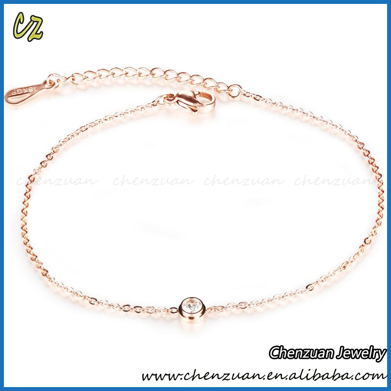 Factory price cheap simple rose gold plated chain design zircon anklets