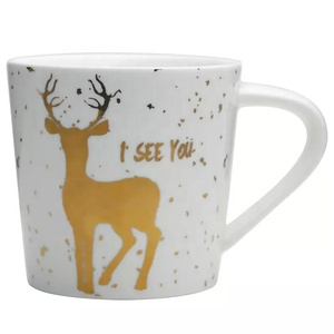 Decoration good quality breakfast milk mugs 350ml hand painting ceramic mug for christmas