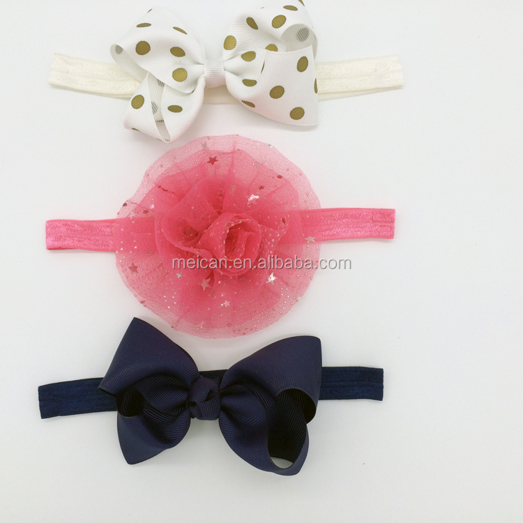 Cute girl baby infant bow hair band hair accessories for girls