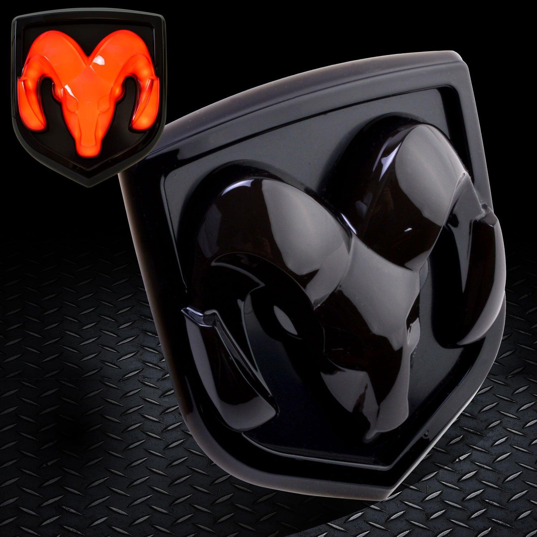Dodge Ram 2009~2016 1500 2500 3500, Dodge Ram 2010~2016 2500 3500 Tailgate Emblem Licensed LED Light Ram head Mopar logo Black 6619