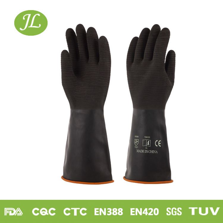 Rolled cuff black 350mm long latex industrial gloves