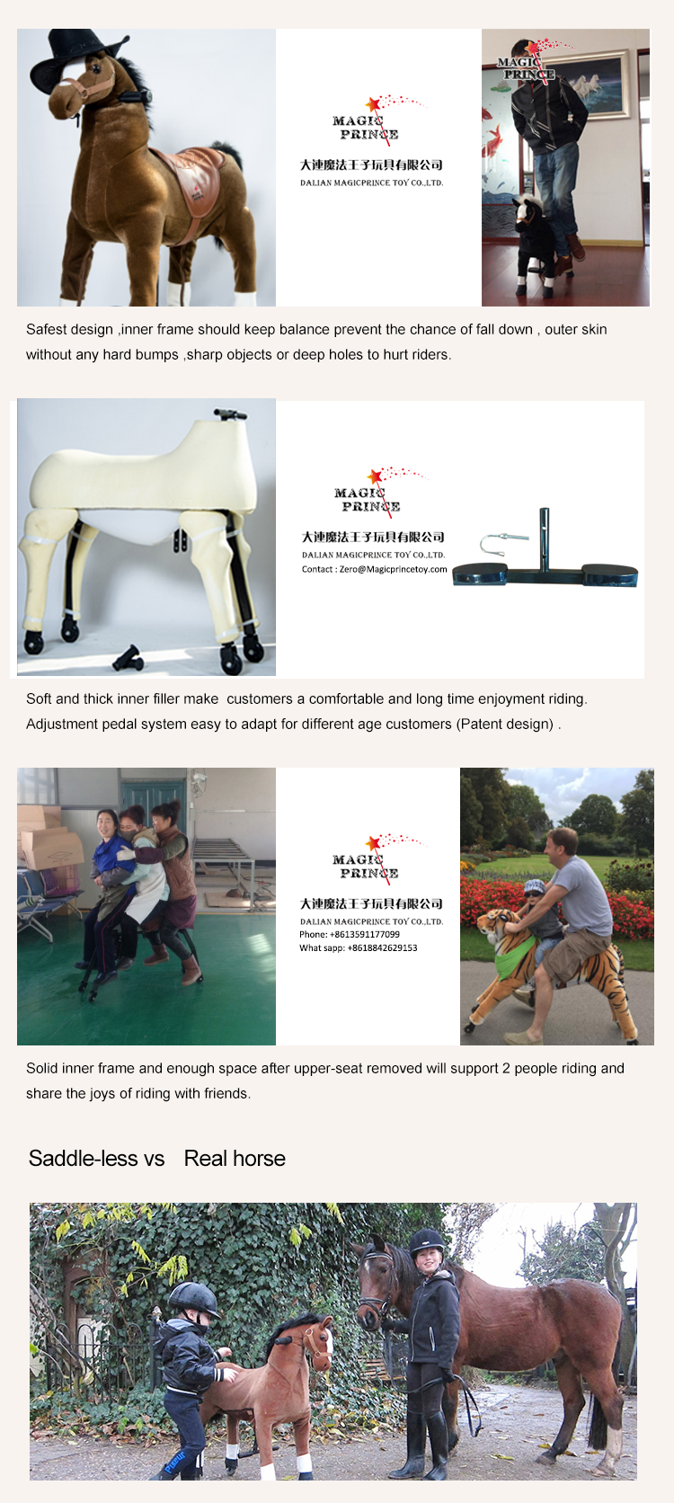 Amusement park rider mechanical horse riding toy with wheels for adults, mechanical rocking horse with wheels