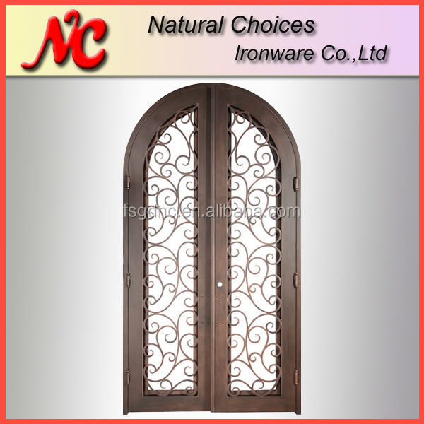 Round top exterior double entry wrought iron door