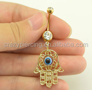 Handcrafted Hamsa Hand Evil Eye Belly Button Rings Navel Body Jewelry