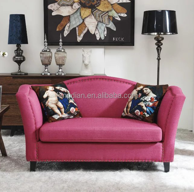 Simple home furniture fabric sofa,living room furniture 2 seat chesterfield velvet sofa
