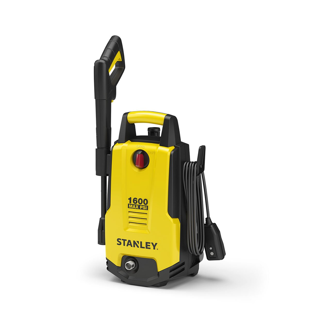 Stanley SHP1600 1600 Psi Electric Pressure Washer with Vari-Spray Nozzle, Wand, Spray Gun, 20' Hose & Detergent Bottle, Yellow