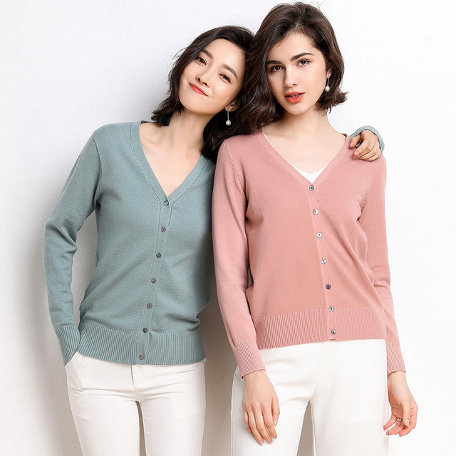2020 OEM <strong>cardigan</strong> for women custom thin knit <strong>long</strong> sleeve cotton plain anti wrinkle sweater V neck spring autumn for gir