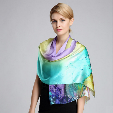 100% silk gradient oil painting colourful scarf