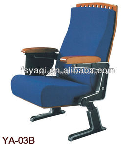 Manufacture Luxury vip modern folding cinema seat wooden auditorium chair with writing board YA-03B