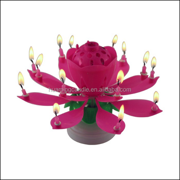 Lotus Flower Music Fireworks Birthday Cake Candle Buy Birthday