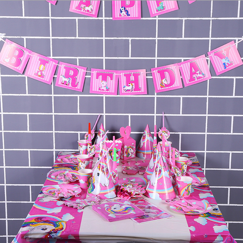 16 kinds themed party supplies unicorn theme birthday party decoration set for children birthday party