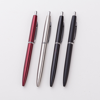 Advertising promotional customized metal click ball pen with company logo, cheap fashion business metal click ball pen