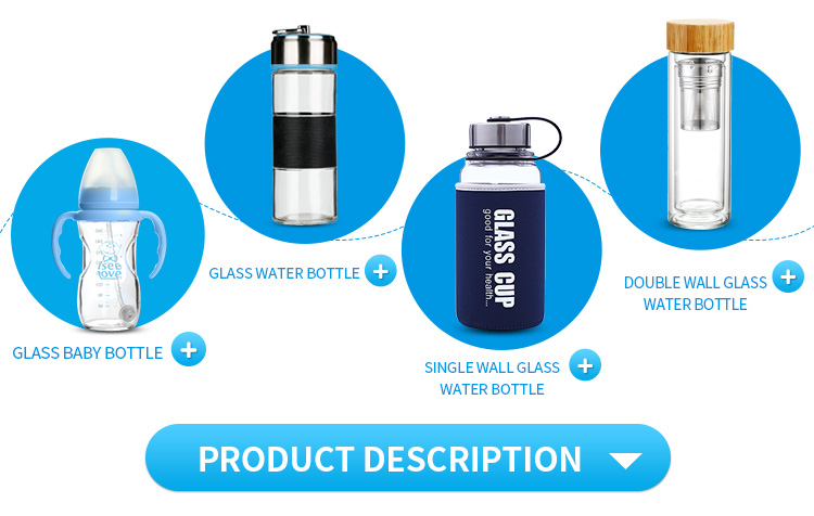 Promotional Reusable BPA-free crystal water bottle Glass