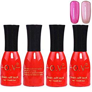 Tint 4PCS OV Red Bottle Soak-off UV Gel Set Top Coat+Base Gel+2 UV Color Builder Gel(No.119-120,15ml)