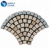 cheap price granite fan shaped paving stone,interlocking grey tumbled granite driveway paving stone,cobble cube