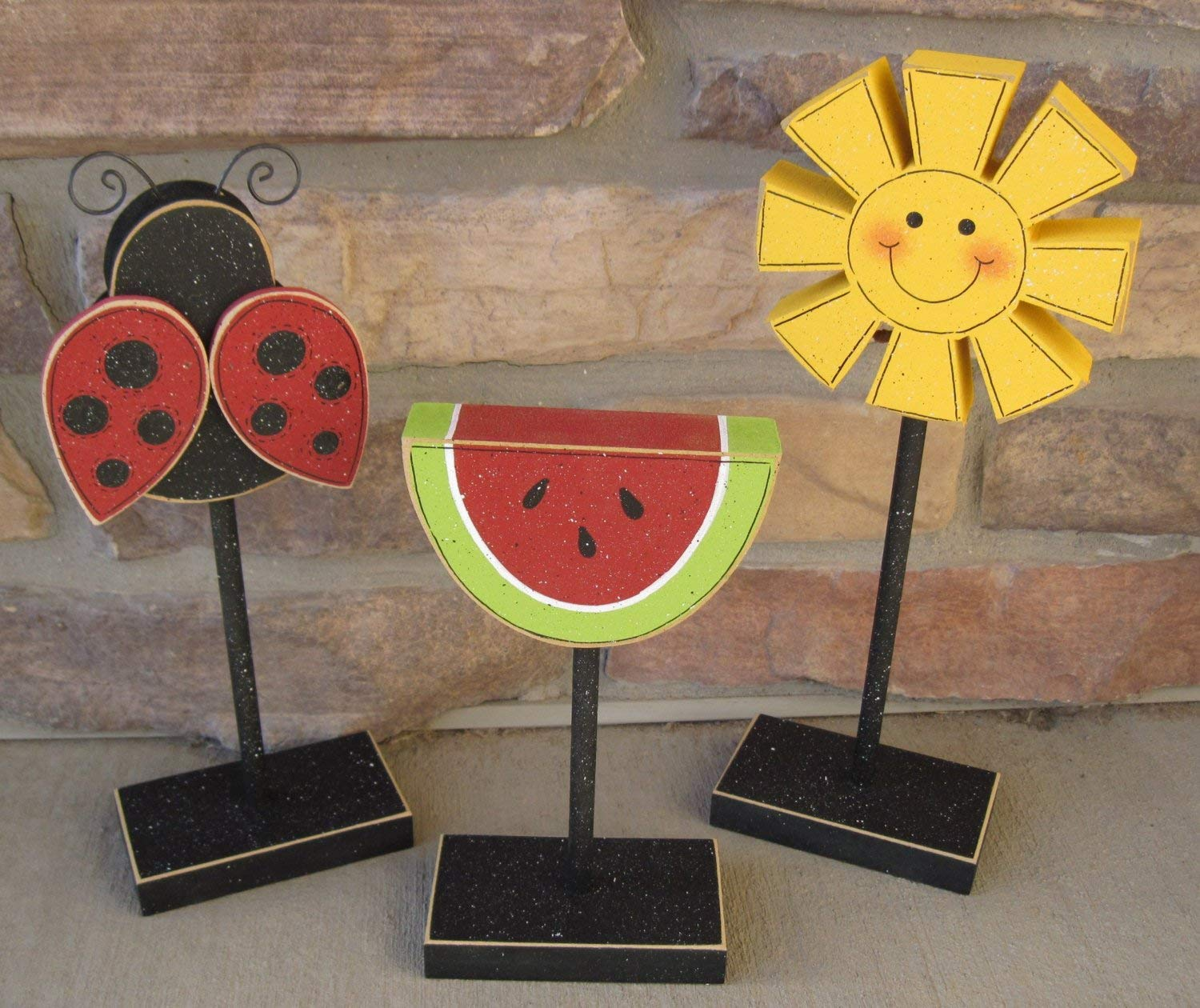 3 Tall Standing SUMMER THEMED Block SET with Sunshine, Lady Bug, and Watermelon for shelf, desk, office and home decor