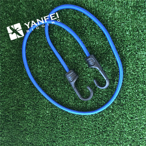 Elastic blue/black bungee cords, two hook bungee cords supplier