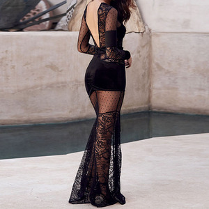 Mermaid dress velvet embroidery floor long sleeve formal backless Sexy Party Transparent Dress Women Luxury Dress