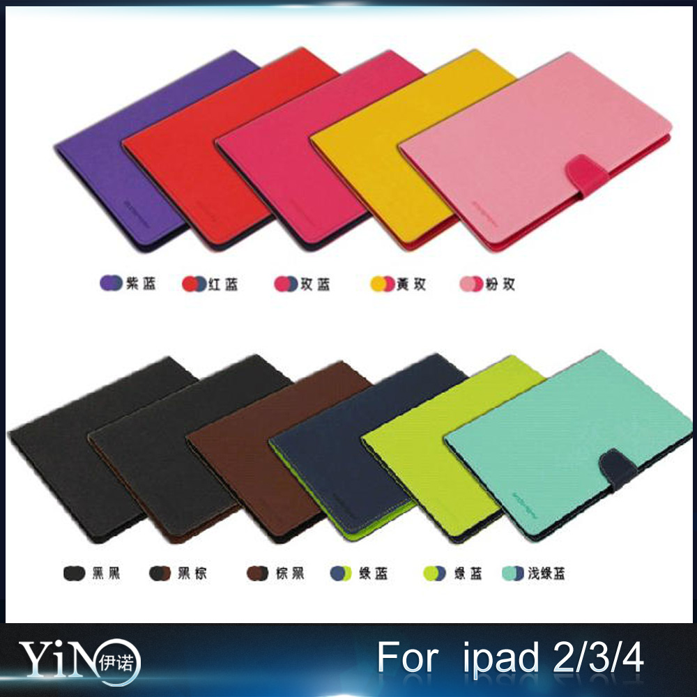 High Quality Arrival canvas Flip Cover leather Case For ipad 2/3/4