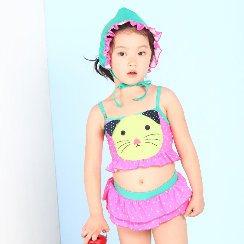 c093223ea43ba Get Quotations · New korean baby girl bikini kids girl swimwear baby  swimsuit cartoon princess two pieces swim cute