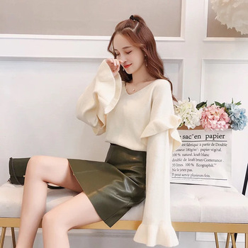 hot sale high quality v-neck woman loose sweet winter thick sweater lady loose knitting pullover fashion jumpers for spring