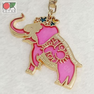 classic elephant logo keychain with transparent red enamel