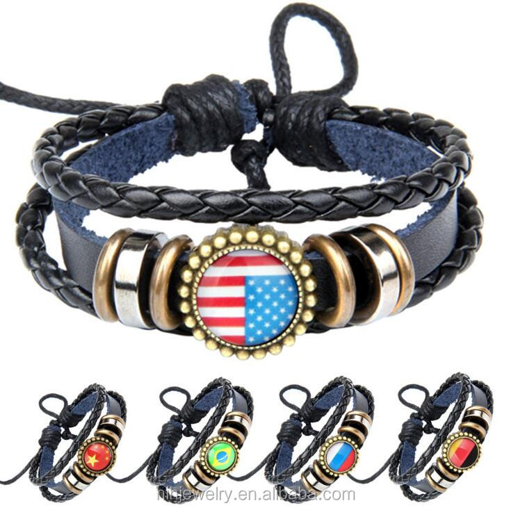 cheap bulk wholesale three layers leather weaving braided flag bracelet