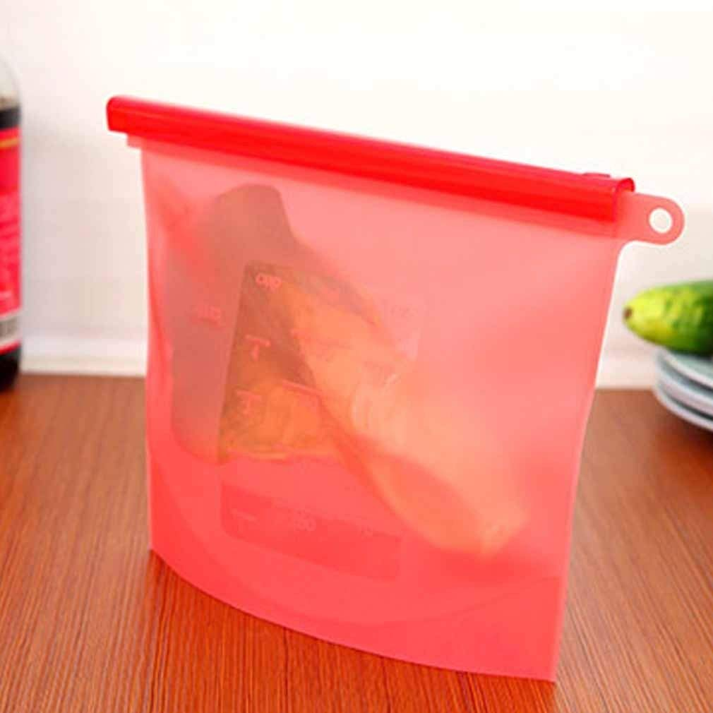 1Pc Cooking Fresh Silicone Tool Kitchen Sealing Storage Eco-Friendly Bag Home Food (Choose Color) (Red)