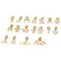 Classic Jewelry Gold Silver Stainless Steel Barbell 16g Brass Surface Cz Ear Tragus Helix Rook Cartilage Stud Piercing Jewelry