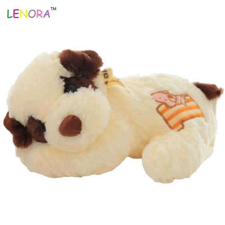 2018 Popular cute cartoon lying down dog with bone poodle puppy doll dog baby gift stuffed <strong>animal</strong>