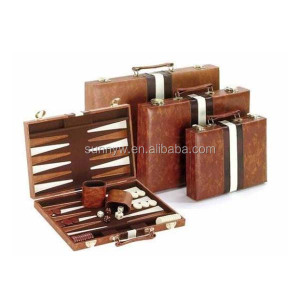 Pu leather chess checkers backgammon game set