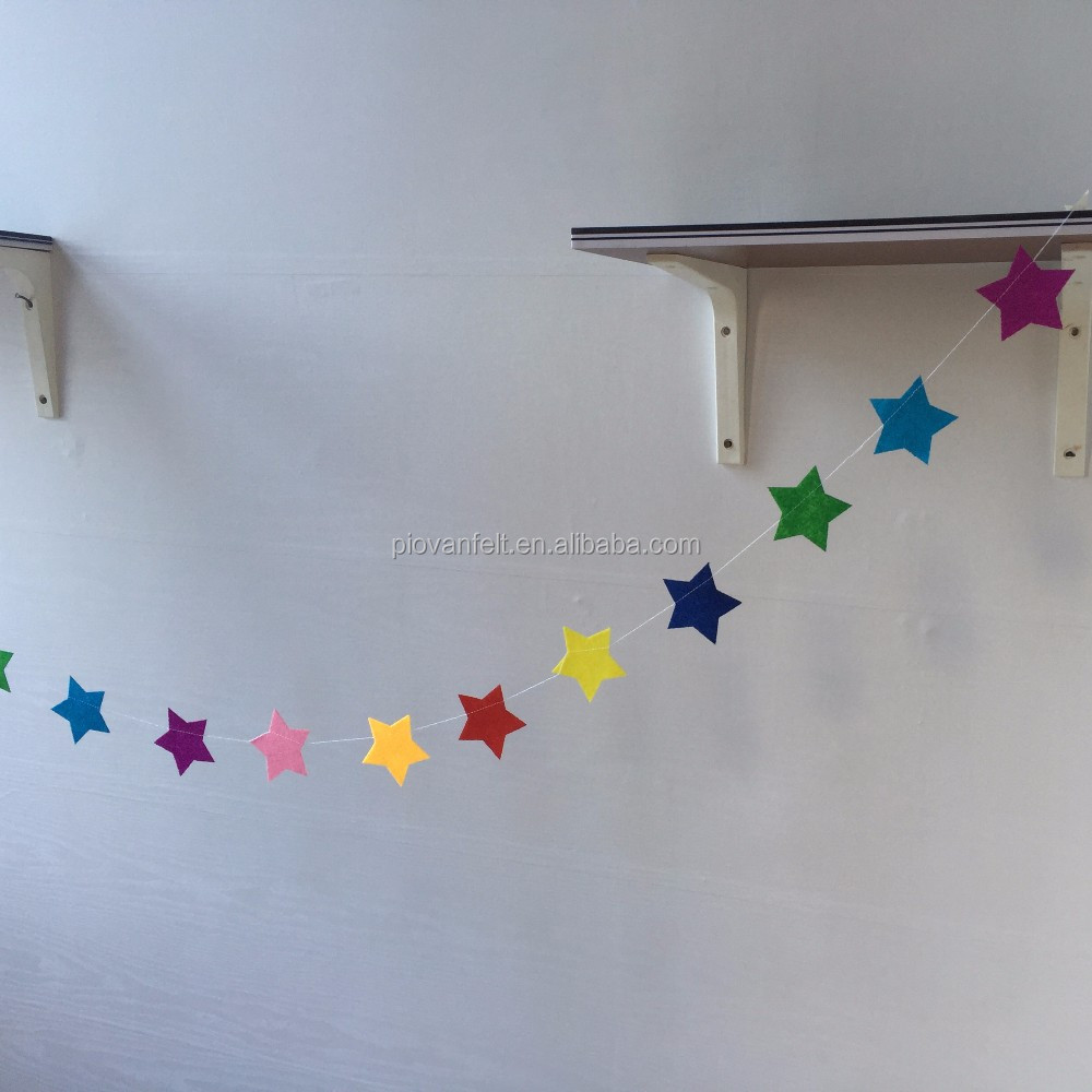 Color Star 3 Meter Felt Banner Flag Birthday Wedding Party Decoration Bunting supply