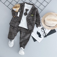 Baby Boys casual Suits Kids Formal Suits with t shirt set Children Boys Sets Blazer Boys Clothes 3pcs Set